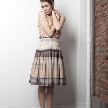 Pleated Creme and Brown Silk Skirt (Theory)