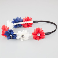 Full Tilt Chiffon Flower Headband Red/White/Blue One Size For Women 21998794801