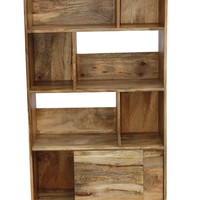Industrial Design Wooden Bookshelf/Display Cabinet In Natural Brown By The Urban Port