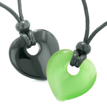 Yin Yang Heart Donuts Love Couple Best Friends Black Agate Neon Green Simulated Cats Eye Amulet Necklaces