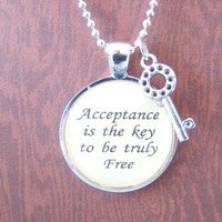 Katy Perry inspired lyrical quote pendant necklace with chain, Unconditionally musical lyric inspired pendant
