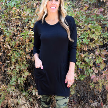 McCall Button Back Tunic - Black
