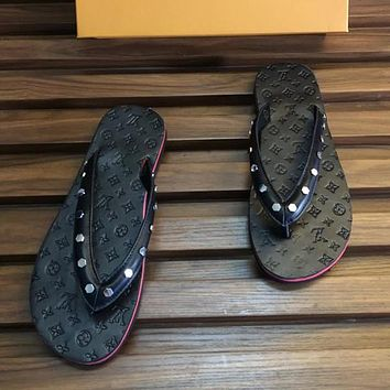 Louis Vuitton LV Men Fashion Slipper Flats Shoes