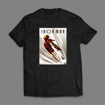 IRON MAN COMIC BOOK ART DECO POSTER T-SHIRT