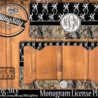 Black Monogram License Plate Frame Holder Hunting Browning Buckhead Deer Camo Car Front license plate Tags Personalized Custom Country Girl