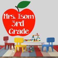 Teacher Name & Grade Wall Decal | Apple Decal | Removable Classroom Decal