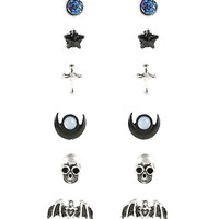 Blackheart Bat Skull & Moon Earring Set