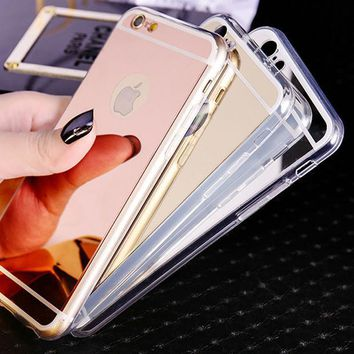 Fashion Soft Mirror Phone Case For Coque iPhone X 8 8plus 5s 5 6 6s 6plus 6s plus 7 7Plus Ultra Thin Soft Electroplating Make UP Mirror Back Cover Fundas+Nice Gift Box ! [2974244256]