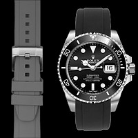 Curved End Rubber Strap for Rolex Submariner Ceramic with Tang Buckle