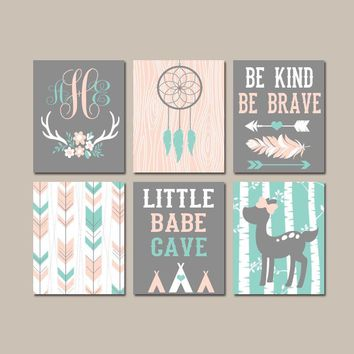 Girl Tribal Nursery Art, Boho Woodland Wall Art, Dream Catcher Deer Arrows, Little Babe Cave, Be Kind Be Brave Canvas or Prints Set of 6