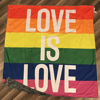 "Love Is Love Blanket • Minky • 50 x 65"" • Equality • Lgbt • Marriage • Love • Gay • Lesbian • Rainbow • 3-4 Week Turnaround"