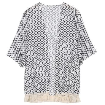 Black & White Squares Printed Blouse