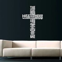 Cross Jesus Christ Wall Decal Religion Prayer Writing Decals Wall Vinyl Sticker God John Psalm Quote Home Interior Wall Decor for Any Room Housewares Mural Design Graphic Bedroom Wall Decal Bathroom (5867)