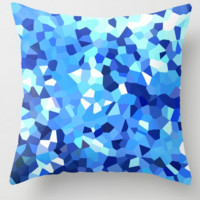Modern Blue and White Stained Glass Ocean Abstract by Julie W - Wenarts