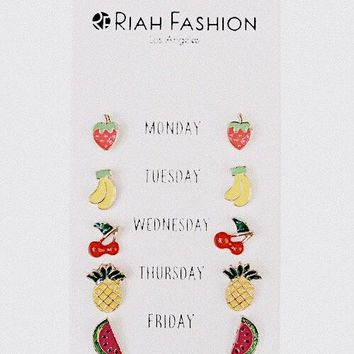Weekday Fruit Pin Earrings Set
