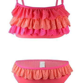 July sand Girl kids two-piece bikinis sets with ruffle mermaid tails pink swimsuit for beach bathing suit in 10176