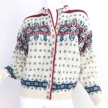 Sz M 1980s Wool Nordic Cardigan Sweater - Vintage Women's LL Bean Cream Red Green Fair Isle Knit Button Up Christmas Holiday Sweater