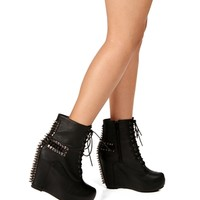 Black Spike And Studs Cross Booties