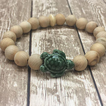 Beaded, Bracelet, Gift, Boho, Stretch, Green, Stone, Turtle, Nature, Sea, Animal, Ocean, Mala, Spiritual, Bohemian, Hippie; Gypsy, Summer