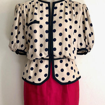 VALENTINO!!! Vintage 1980s 'Valentino Couture' cream and navy polka dot silk jacket with peplum and short puff sleeves