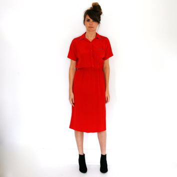 Vintage DVF Dress Diane Von Furstenberg Silk Red Shirtdress Medium