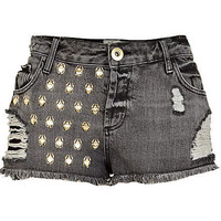 Grey ripped bug studded denim shorts