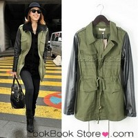 Lookbookstore Woman Military Army Green Contrasting Black PU Faux Leather Sleeved Coat Jacket @lookbookstore #lookbookstore