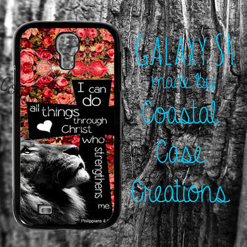 Roses Cross and Lion Philippians 4:13 Quote Samsung Galaxy S4 2 Piece Durable Cell Phone Case Cover Original Design