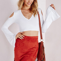 White Shoulder  Cutout V Neck Bell Sleeve Cropped Top