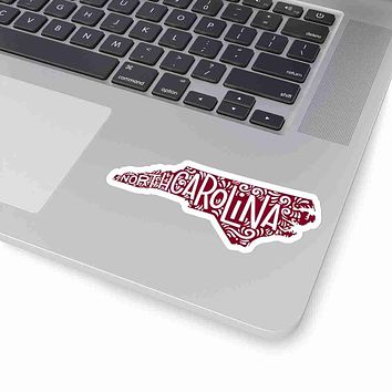 North Carolina State Shape Sticker Decal - Garnet