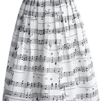 Dance With Music Notes Pleated Midi Skirt White