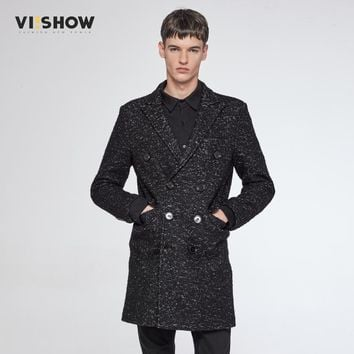 VIISHOW Winter Men's Double Breasted Trench Coat Slim Fit Hip Hop Male Fashion Brand Jacket Men FC13964