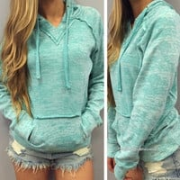 Fashion Ladies Women Casual Long Sleeve Hooded Front Pocket Loose Pure Color Pullover Hoodie Sweatshirt = 1838537476