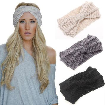 ESBU3C 2015 New Knot Knit Headband Bow Crochet Turban Head Wrap Ear Warmer Hair Accessories Women Cable Decoration Winter