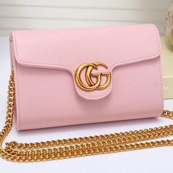 GUCCI Hot Sale Women Leather Metal Chain Shoulder Bag Crossbody Satchel Pink