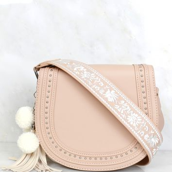 Free Spirit Embroidered Bag Tan/Ivory