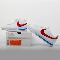 CXON Nike Classic Cortez Leather Embroidery For Women Men Skateboard Shoes Sneakers White Red
