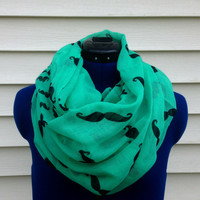 Infinity scarf - mustache scarf - Pistachio Mustachio Scarf - boho - loop scarf - circle scarf - women - teen - green scarf