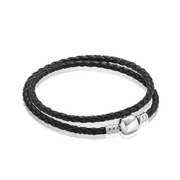 PDB10 S925 sterling silver accessories DIY buckled square buckle double  braided black leather Bracelet Red Leather Bracelet