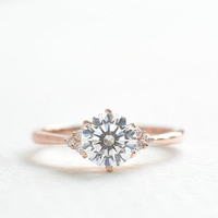 Rose Gold Engagement Ring - 3 STONE Engagement Ring - 1 ct Diamond Ring CZ  - Silver Rings for Women - Sterling Silver Ring