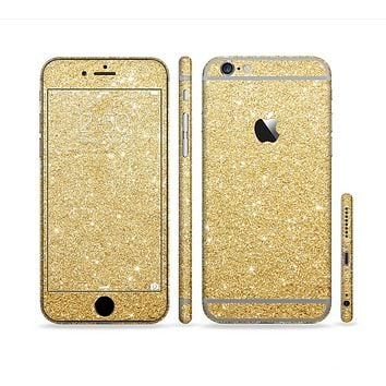 The Gold Glitter Ultra Metallic Sectioned Skin Series for the Apple iPhone 6 Plus