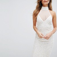 PrettyLittleThing Premium Embellished Halterneck Midi Dress at asos.com