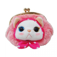 Choo Choo Cat Shaped Kiss Lock Coin Purse with Hood (Pink)