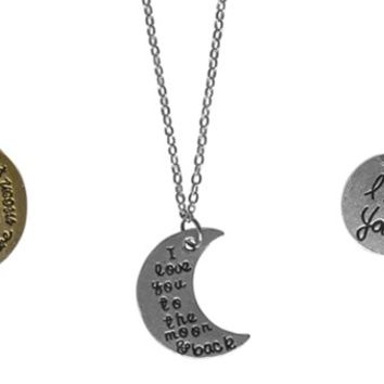 Love You To The Moon Necklaces-3 Designs-Perfect Gifts