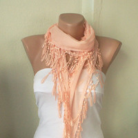 Light Pastel Coral 100 Cotton Spring Scarf with Lace by Periay