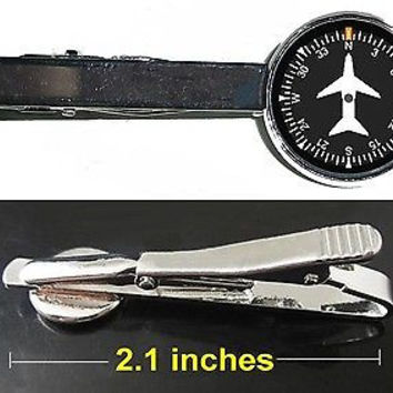 Airplane Airline Pilot Cockpit Gauge Tie Clip Clasp Bar Slide Silver Metal Shiny