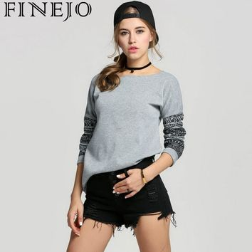 FINEJO Fleece Women Autumn Sweatshirts Fashion O-Neck Letter Printed Geometric Print Hoodies Female long Sweatshirt