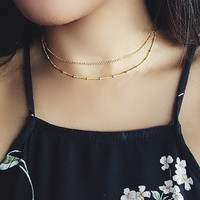 Gold Chain layered Choker Necklace Set / Gold Satellite Choker Necklace / Women Birthday Gift  XL479