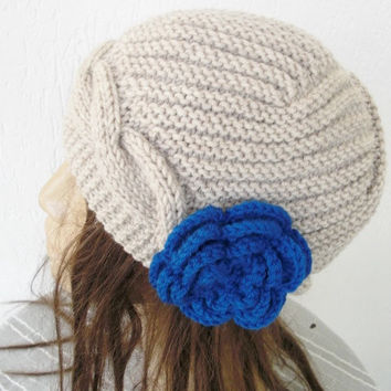 Hand Knit  Hat-   Womens Hat Cloche Hat  in Beige  Winter Accessories with crochet flower Snow warm- christmas-  Fall Autumn oatmeal
