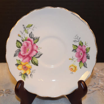 Clare Rose Saucer Vintage Pink Yellow Saucer Bone China Made in England Discontinued China Replacement Holiday Dinnerware Shabby Chic Dishes